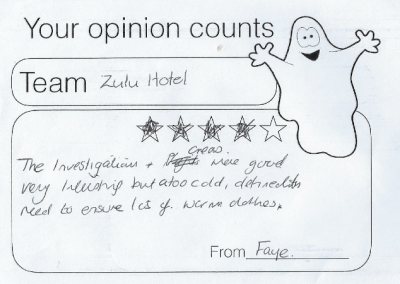 Guest feedback from German underground hospital ghost hunt